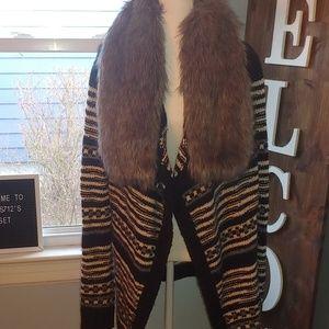 Express open cardigan with detachable fur sz large